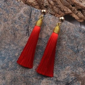 "5/$20 ❤️ Red and Gold 3.5"" Tassel Earrings"